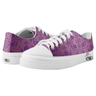 Purple Damask Design Printed Shoes