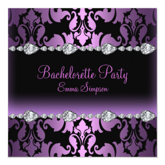 Purple Damask & Diamond Bachelorette Invite
