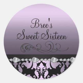 Purple Damask & Diamond Sweet 16 Sticker