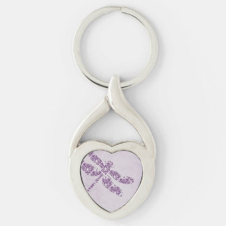 Purple Damask Dragonfly Wedding Silver-Colored Heart-Shaped Metal Keychain