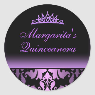 Purple Damask Elegant Quinceanera Sticker