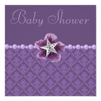 Purple Damask, Flower, Star & Pearls Baby Shower 13 Cm X 13 Cm Square Invitation Card