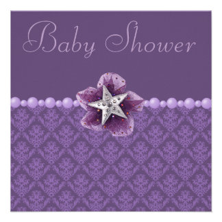 Purple Damask, Flower, Star & Pearls Baby Shower Personalized Invitation