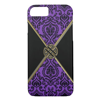 Purple Damask Gold Celtic Knot iPhone 7 Case