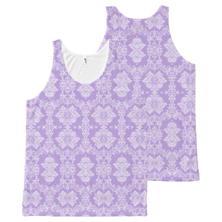 Purple Damask All-Over Print Tank Top