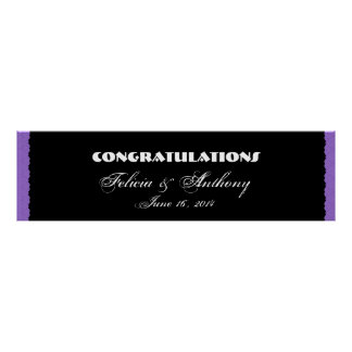 Purple Damask  Lace Wedding or Engagement Banner Poster