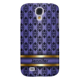 Purple Damask Monogram Cell Phone Case