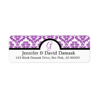 Purple Damask Monogram G Wedding Mailing Labels