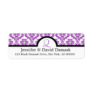 Purple Damask Monogram Q Wedding Mailing Labels