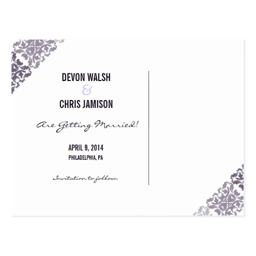 Purple Damask Ombre Wedding Save the Date Post Cards