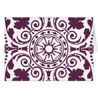 purple damask ornamental design greeting card