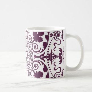 purple damask ornamental design mug