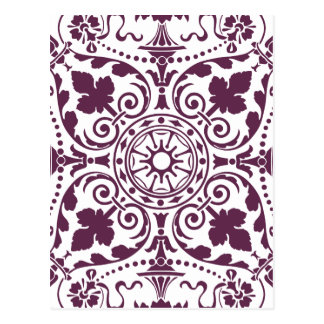 purple damask ornamental design post cards