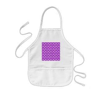 Purple Damask Pattern with White. Apron