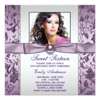 Purple Damask Photo Sweet Sixteen Birthday Party Announcement