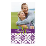 Purple Damask Photo Wedding Thank You Favour Tag