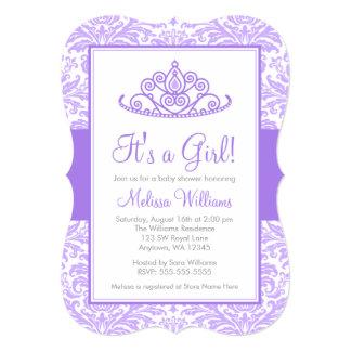 Purple Damask Princess Crown Girl Baby Shower 13 Cm X 18 Cm Invitation Card