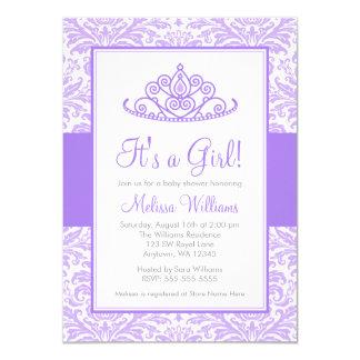 Purple Damask Princess Crown Girl Baby Shower Card