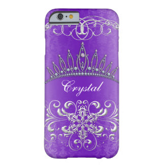 Purple Damask Princess Tiara Personalized Case Barely There iPhone 6 Case