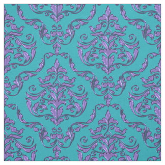Purple Damask Print on Any Background Color Fabric