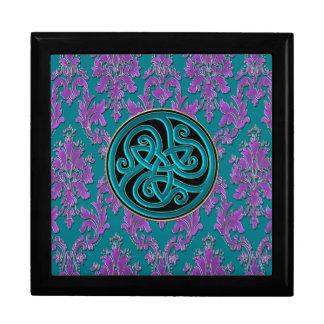 Purple Damask Print on Teal Gift Box
