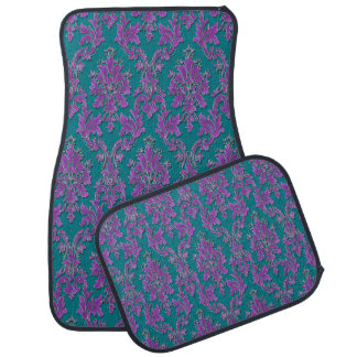 Purple Damask Print on Teal or Your Color Floor Mat