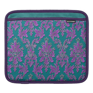 Purple Damask Print on Teal or Your Color iPad Sleeve