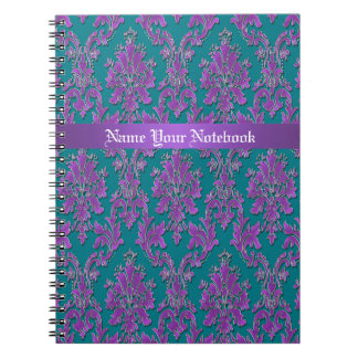 Purple Damask Print on Teal or Your Color Notebook