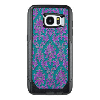 Purple Damask Print on Teal or Your Color OtterBox Samsung Galaxy S7 Edge Case