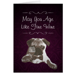 Purple Damask Pug & Fine Wine Happy Birthday Card