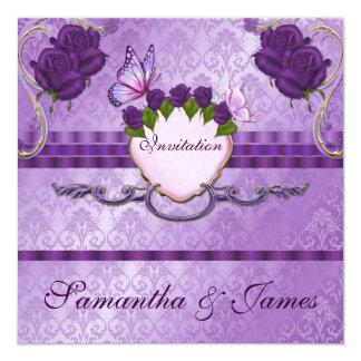 Purple Damask Rose Wedding Invitation