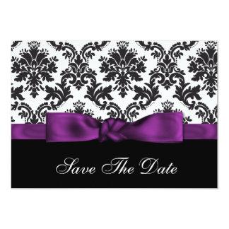 purple damask Save the date 13 Cm X 18 Cm Invitation Card