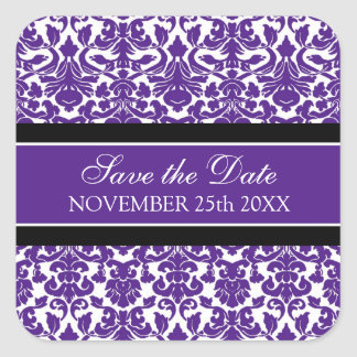 Purple Damask Save the Date Envelope Seal Square Sticker