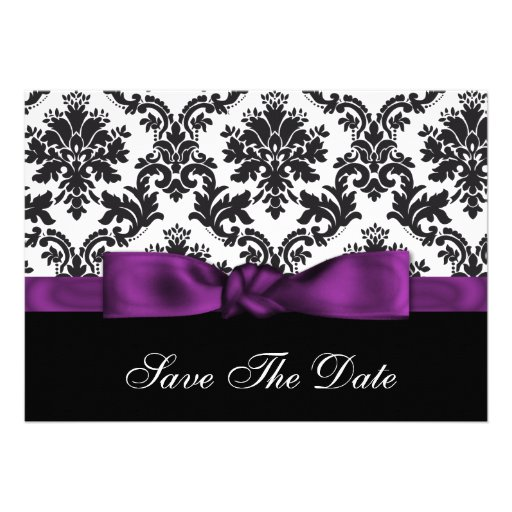purple damask Save the date Personalized Invites