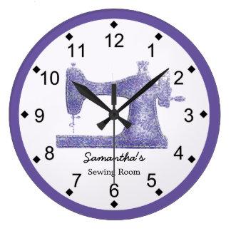 Purple Damask Sewing Machine Wall Clocks