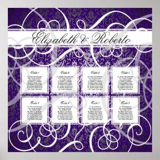 Purple Damask Swirls 8 Table Seating Chart Poster