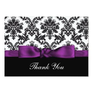 purple damask ThankYou Cards 13 Cm X 18 Cm Invitation Card