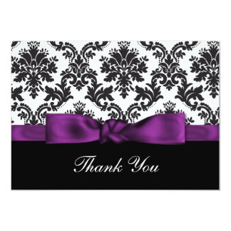 "purple damask ThankYou Cards 5"" X 7"" Invitation Card"