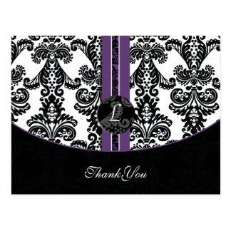 purple damask ThankYou Cards Postcard
