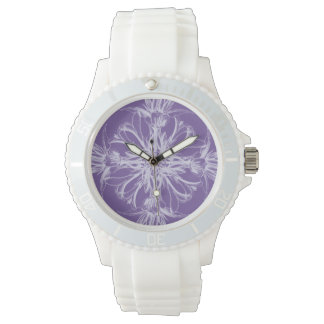 Purple Damask Vintage Floral Wristwatches