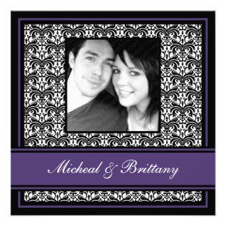 Purple Damask Wedding Engagement Announcement