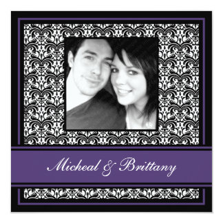 "Purple Damask Wedding Engagement Announcement 5.25"" Square Invitation Card"