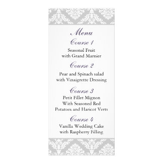 purple damask Wedding menu Rack Card Template