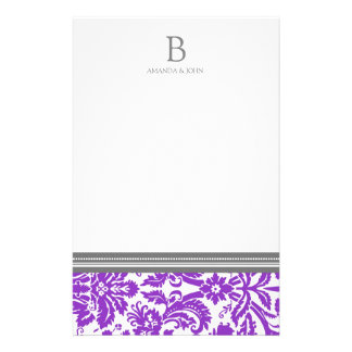Purple Damask Wedding Monogram Stationery