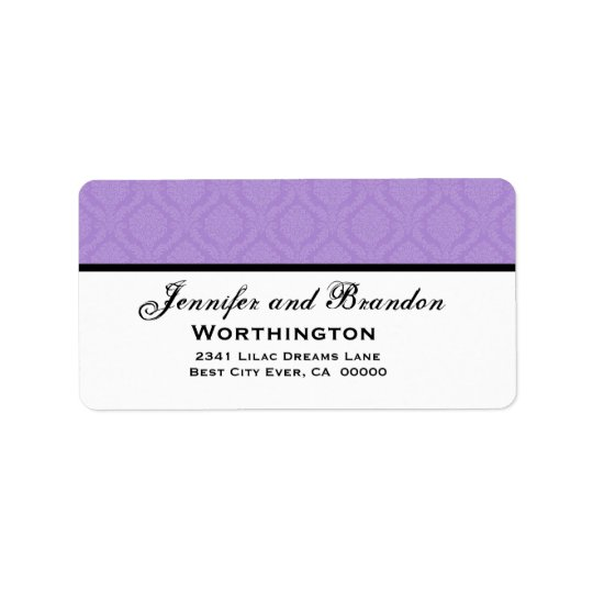 Purple Damask Wedding Set Address Label