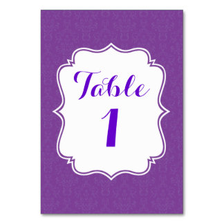 Purple damask wedding table number card