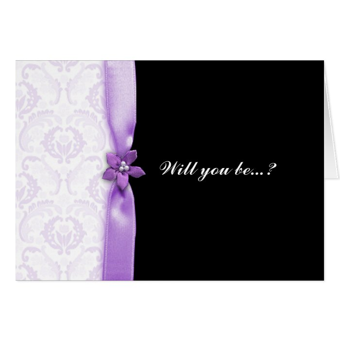 purple damask Will you be my bridesmaid card