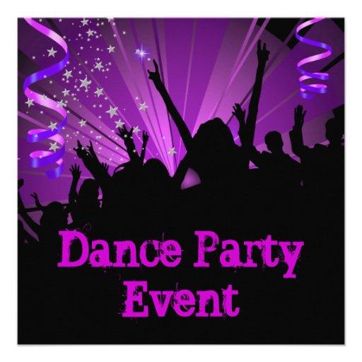 Purple Dance Party Event Crowd Rave Personalized Invitation
