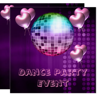 Purple Dance Party Event Mirrorball Love Balloons Card