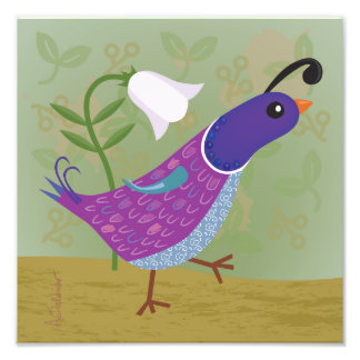 Purple Dancing Quail with Lily Square Art Print Photo Print
